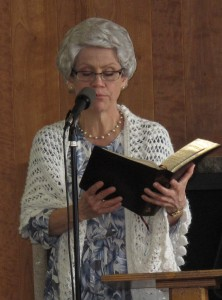April 6, 2013 brunch 11 - Ida reading Bible